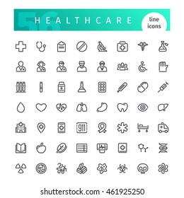 Set of 56 healthcare line icons suitable for web, infographics and apps. Isolated on white background. Clipping paths included.