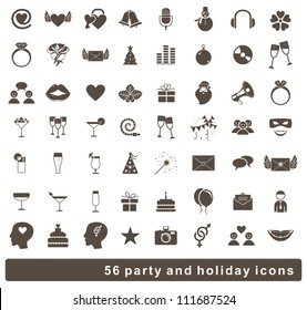 set of 56 holidays and party icons