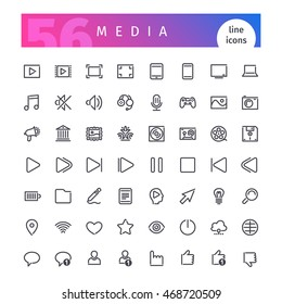 Set of 56 media line icons suitable for web, infographics and apps. Isolated on white background. Clipping paths included.