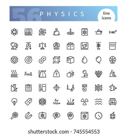 Set of 56 physics line icons suitable for web, infographics and apps. Isolated on white background. Clipping paths included.