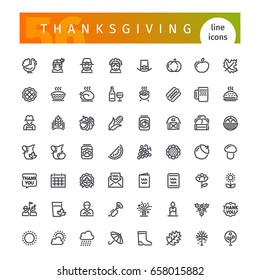 Set of 56 thanksgiving line icons suitable for web, infographics and apps. Isolated on white background. Clipping paths included.