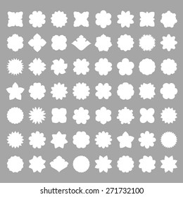 set of 56 white floral frames isolated on the gray background