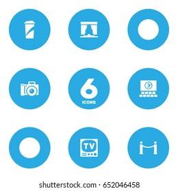 Set Of 6 Amusement Icons Set.Collection Of Photography, Beverage, Cinema Fence And Other Elements.