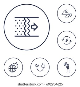 Set Of 6 Atmosphere Outline Icons Set.Collection Of Air, Electricity, Ecologist And Other Elements.