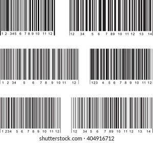 Set of 6 bar code labels. Vector illustration.