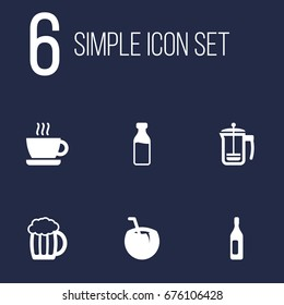 Set Of 6 Beverages Icons Set.Collection Of Pot, Cocktail, Mug And Other Elements.