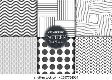 Set of 6 black and white geometric and abstract line pattern background. Different creative texture for design, cover and template