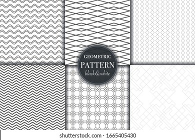 Set of 6 black white luxury geometric pattern background. Abstract line, dot retro style vector illustration for wallpaper, flyer, cover, design template. minimalistic ornament, backdrop.