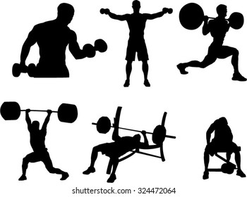 The set of 6 bodybuilding silhouette
