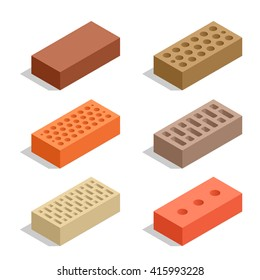 Set of 6 bricks.  Flat 3d isometric vector Brick icons  illustration. For infographics and design games. Industrial elements. Construction.