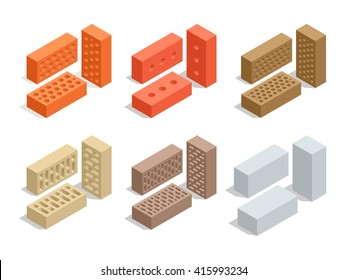 Set of 6 bricks are shown in different positions.  Flat 3d isometric vector Brick icons  illustration. For infographics and design games. Industrial elements. Construction.
