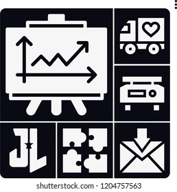 Set of 6 business filled icons such as line chart, scale, justice league, truck, jigsaw