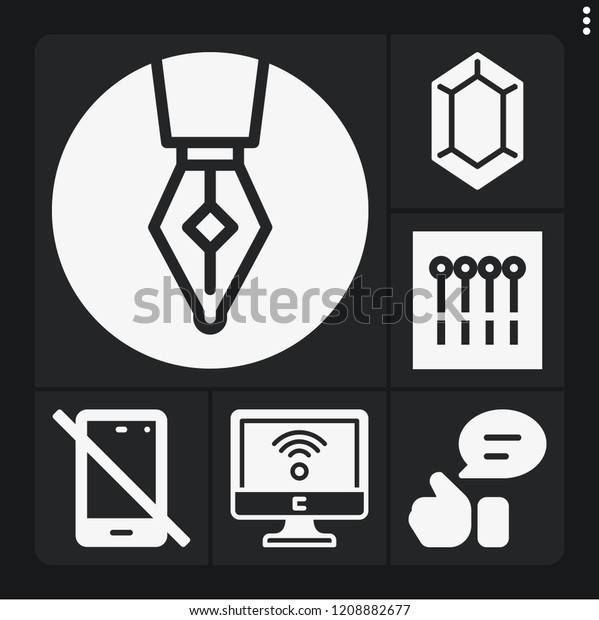 Set 6 Button Filled Icons Such Stock Vector (Royalty Free) 1208882677