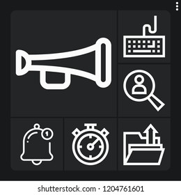 Set of 6 button outline icons such as notification, trumpet, stopwatch, upload, keyboard