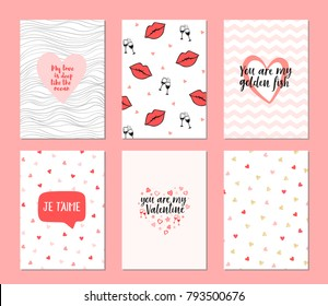 Set of 6 cards for valentine's day. Hand drawn posters. Greeting vector card for Valentine's Day with lettering. Pattern with color hearts. February 14
