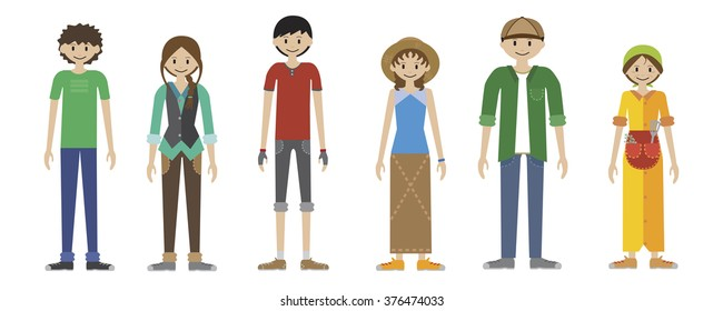 24bd674f4d Set of 6 characters. Human figures in the style of infographics. Cartoon  characters family