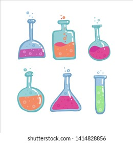 Set of 6 Chemistry Test tubes, different shapes flasks vector color sketch. Education and science isolated illustration in doodle style with decor. Collection of Hand drawn bulb with bubble liquid.
