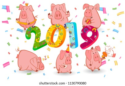 Set of 6 chinese symbol of the 2019 year pig with different emotions. Vector isolated illustration. Creative design of the New Year's card in 2019 pig