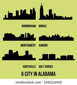 Set of 6 city silhouette in Alabama ( Huntsville, Gulf Shores, Montgomery, Birmingham, Auburn, Mobile )