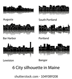 Set of 6 City silhouette in Maine ( Augusta, Bar Harbor, South Portland, Portland, Lewiston, Bangor )