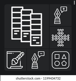 Set of 6 collection outline icons such as svg file, snowflake, pen, pantone