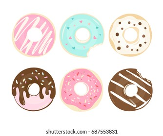 Set of 6 color hand drawn donuts in modern flat style. Donut isolated for your design. Vector color illustration