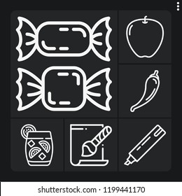 Set of 6 color outline icons such as alcoholic drinks, svg file, marker, apple, candies
