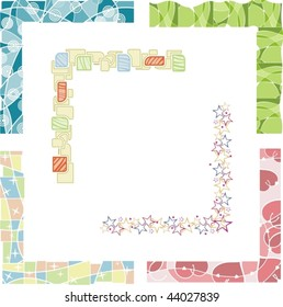 A set of 6 colored border designs, vector illustration series.
