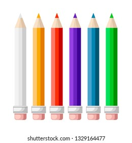 Set of 6 colored pencils, vector illustration