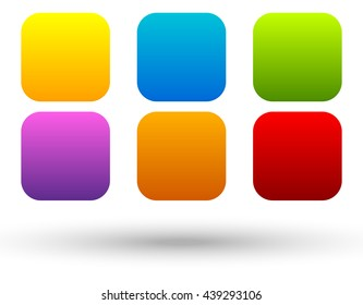 Set of 6 colorful, vivid button, banner backgrounds with blank space for your message. Colorful, bright tags, labels. Abstract design elements
