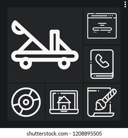 Set of 6 computer outline icons such as phonebook, svg file, catapult, laptop, home page