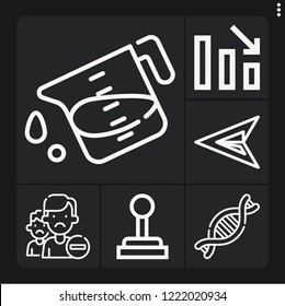Set of 6 concept outline icons such as gearshift, green arrow, loss, liter, remove friend