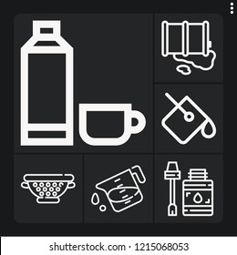 Set of 6 container outline icons such as glue, barrel, paint bucket, strainer, liter