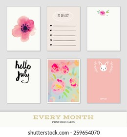 Set of 6 creative journaling cards. Hand Drawn textures made with ink. Every Month Collection - July