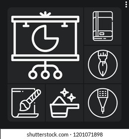 Set of 6 creative outline icons such as svg file, pie chart, pencil, paint brush, detergent