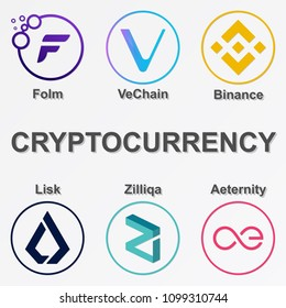 Set of 6 crypto currency icon. Colorful folm, vechain, binance, lisk, zilliqa and aeternity coin. Vector illustration