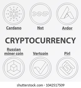 Set of 6 crypto currency lineart icon. Linear cardano, nxt, ardor, vertcoin, pirl and russian miner coin