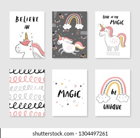 Set of 6 cute creative cards templates with unicorn theme design in gray, pink and yellow colors. Vector illustration. Hand drawn card for birthday, anniversary, party invitations, scrapbook.