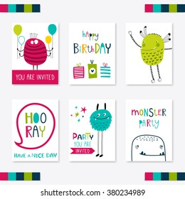 Set of 6 cute creative cards templates with monsters. Vector illustration. Hand Drawn card for birthday, anniversary, party invitations, scrapbooking. Pink, green, turquoise