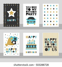 Set of 6 cute creative cards templates with Happy birthday theme design. Vector illustration.