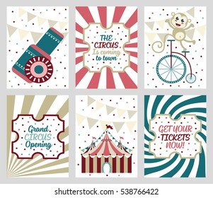 Set of 6 cute creative cards templates with circus theme design. Hand Drawn card for  party invitations, scrapbooking. Vector illustration