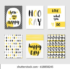 Set of 6 cute creative cards templates with lettering in gray and yellow colors. Vector illustration. Hand drawn card for birthday, anniversary, party invitations, scrapbook.