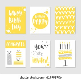 Set of 6 cute creative cards templates with birthday theme design in gray and yellow colors. Vector illustration. Hand drawn card for birthday, anniversary, party invitations, scrapbook.
