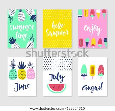 set 6 cute creative cards templates stock vector royalty free