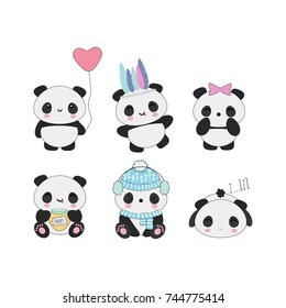 Set of 6 cute kawaii panda bears with funny faces, good for stickers, patches, etc.