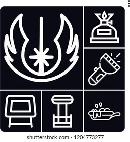 Set of 6 dark outline icons such as flashlight, jedi, table, tesla coil, oil lamp