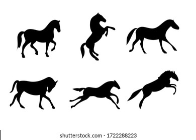 Set of 6 different moving horses silhouettes. Wild horses collection.