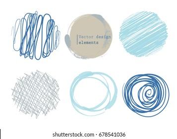 set of 6 different scribble circles, vector design elements