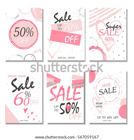 Set 6 Discount Cards Design Can Stock Vector Royalty Free