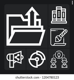 Set of 6 document outline icons such as svg file, books, upload, sharing, share